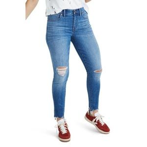 """Madewell 9"""" high-rise distressed skinny jeans"""